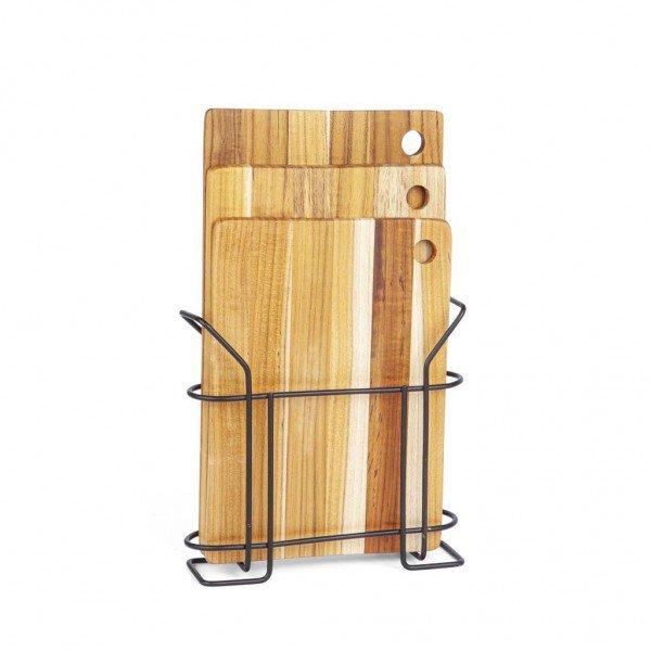 frente kit 3 tabuas de madeira com suporte 12101
